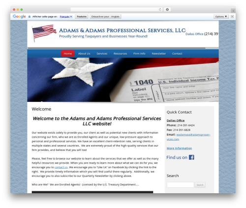 Customized WordPress page template - adamsproservices.com