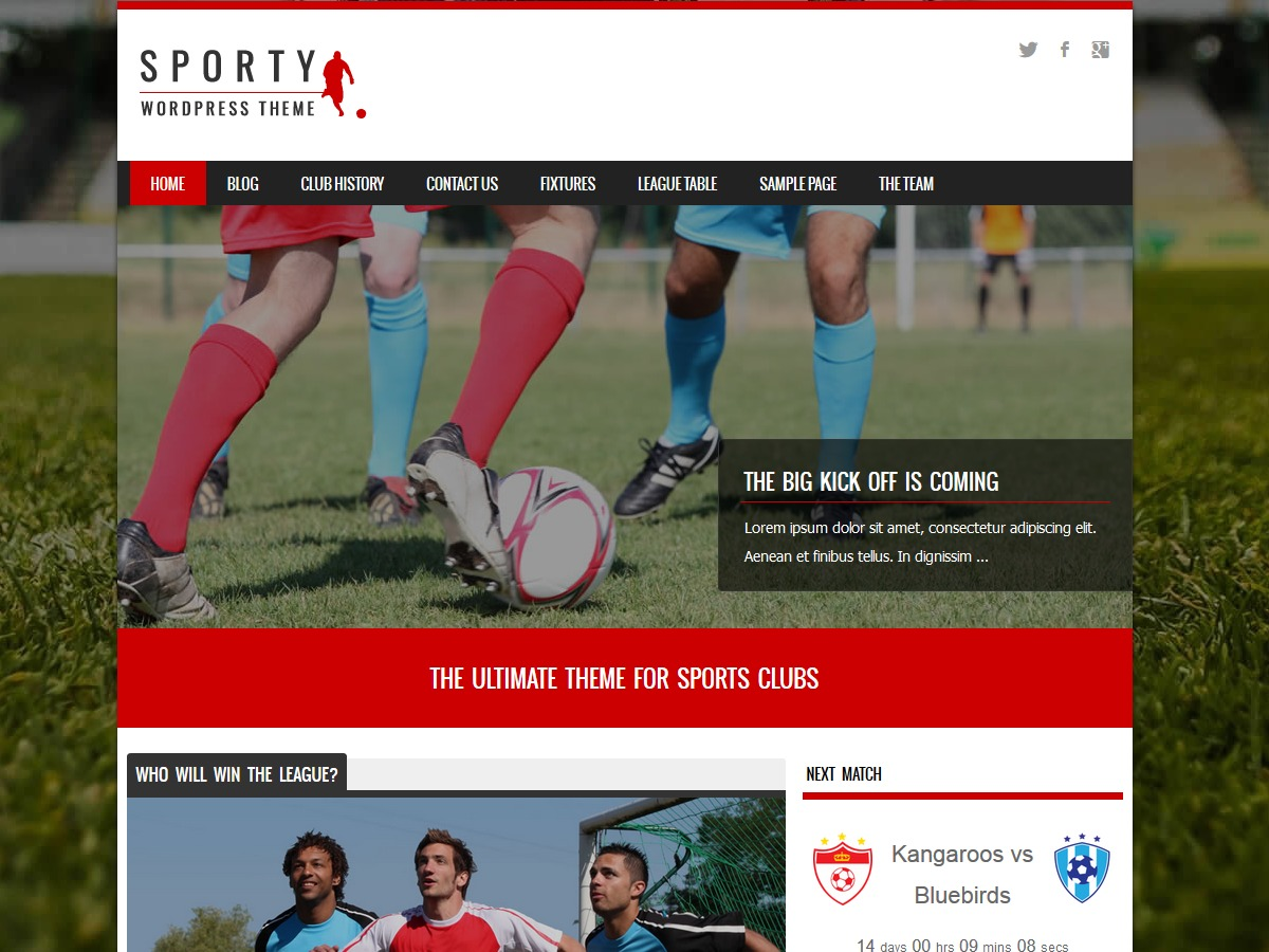 Sporty Child 03 WordPress page template