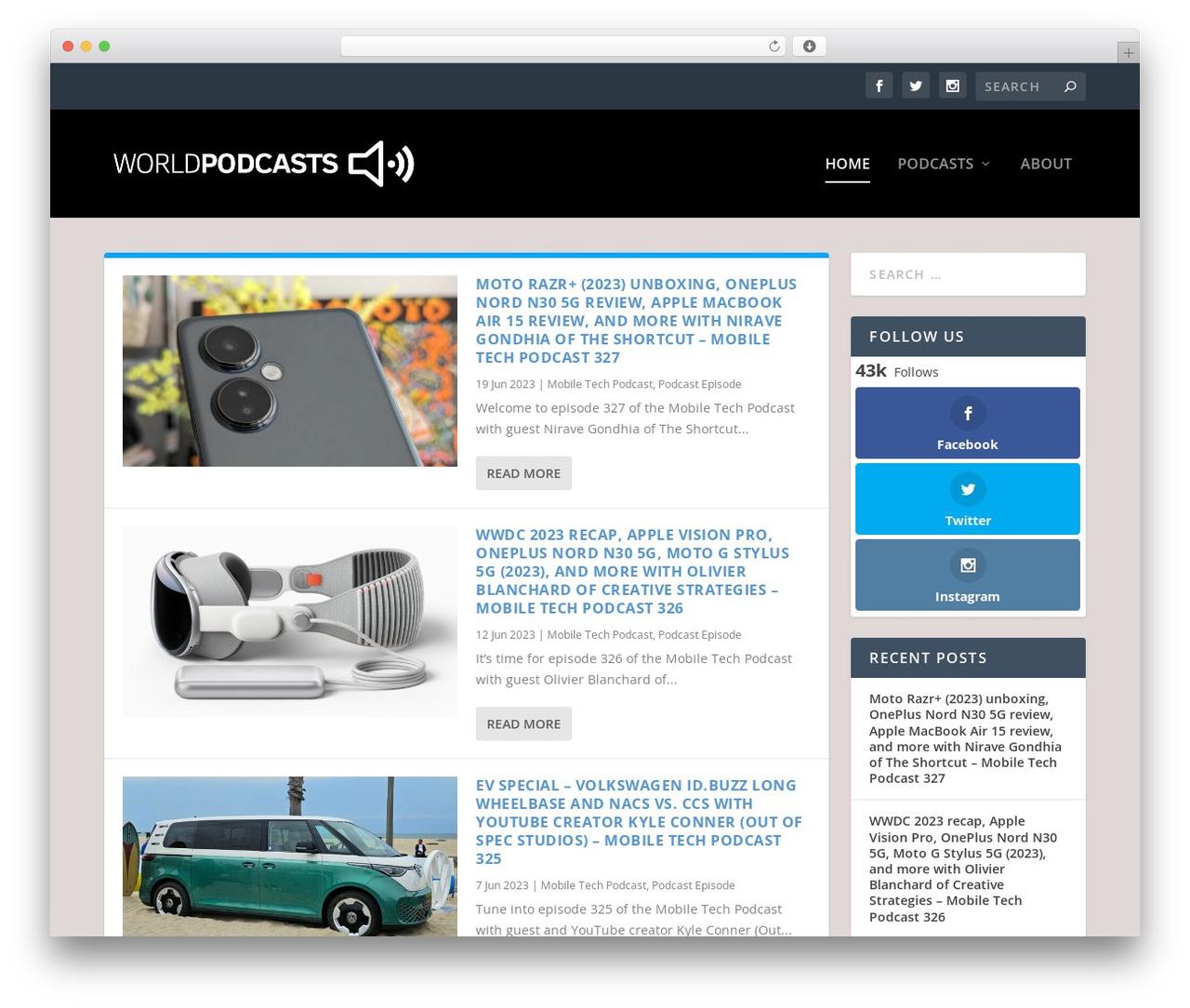 Extra newspaper WordPress theme - worldpodcasts.com