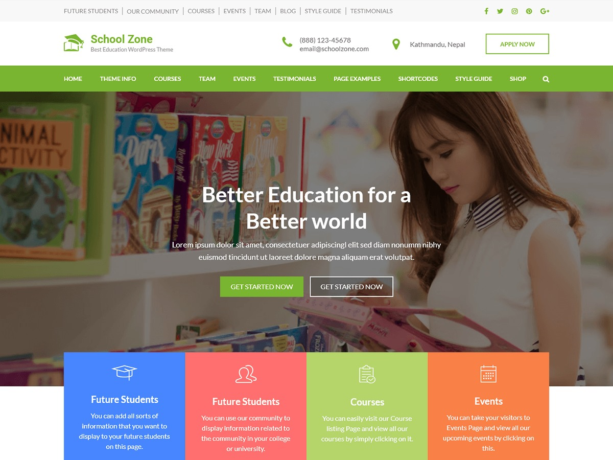 School Zone WordPress template for business