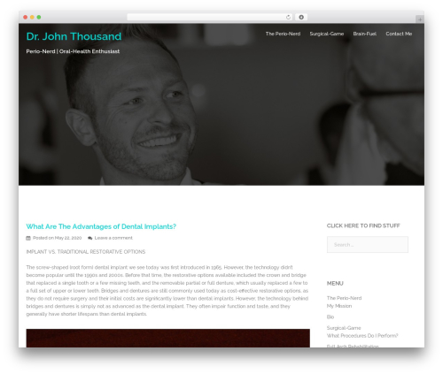 Sydney best free WordPress theme - drjohnthousand.com
