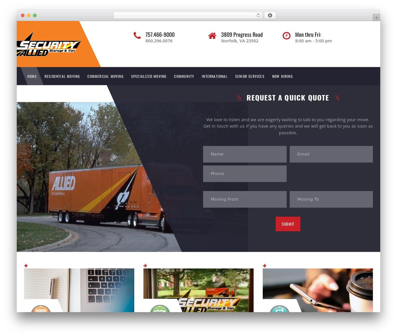 TM Transport WordPress theme - movingwithallied.com