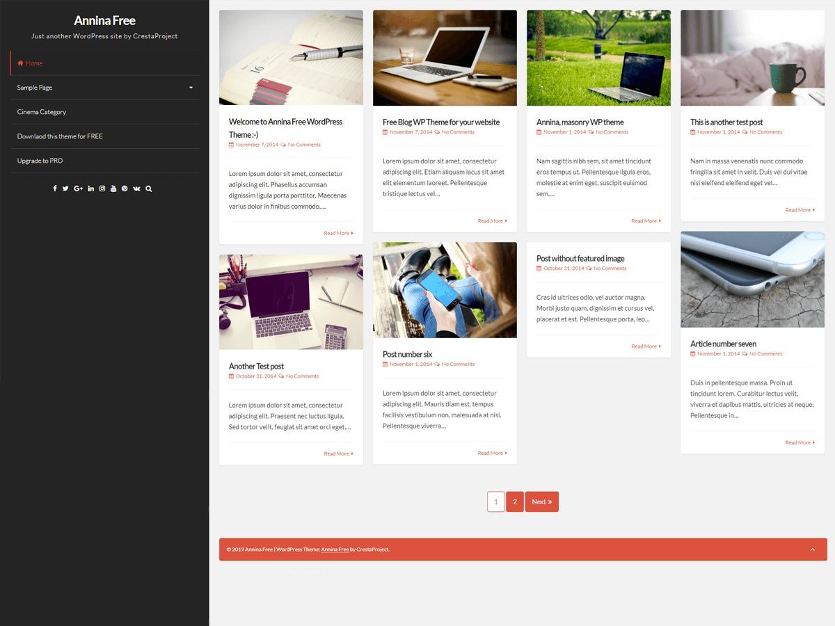 Annina free WordPress theme