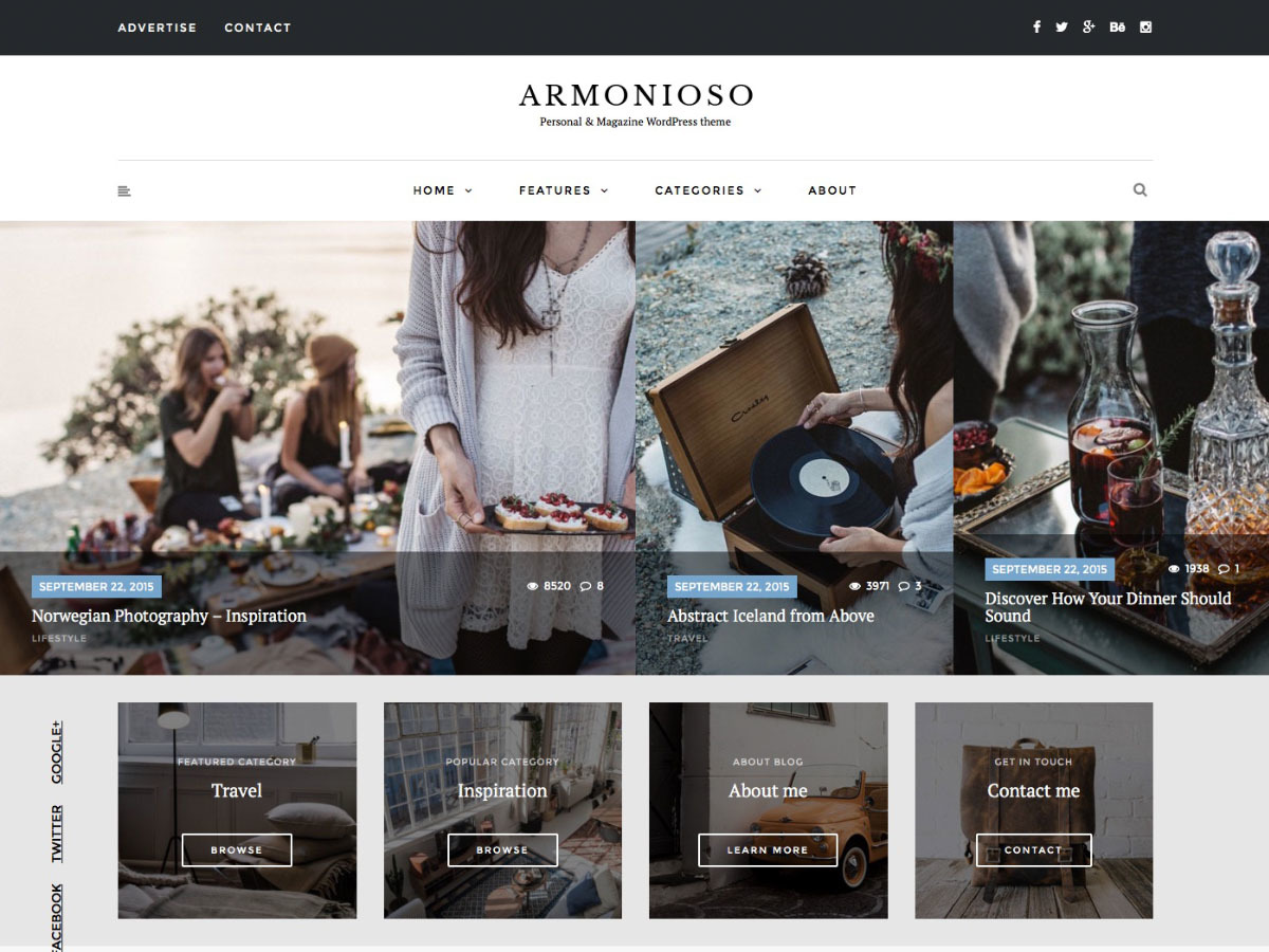 Armonioso WordPress blog theme