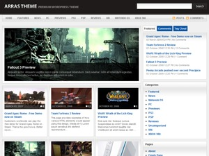 Arras Theme WordPress news template