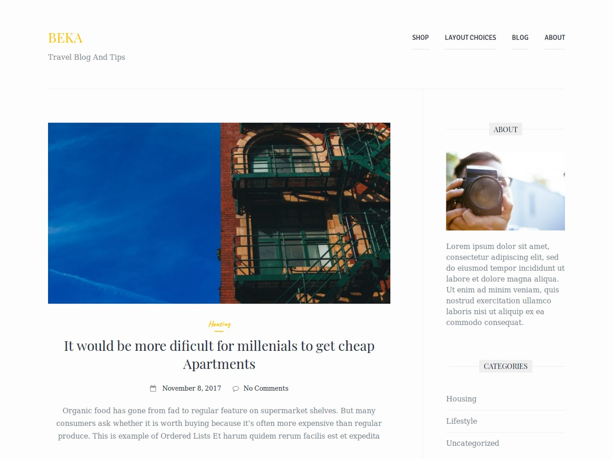 Beka theme WordPress free