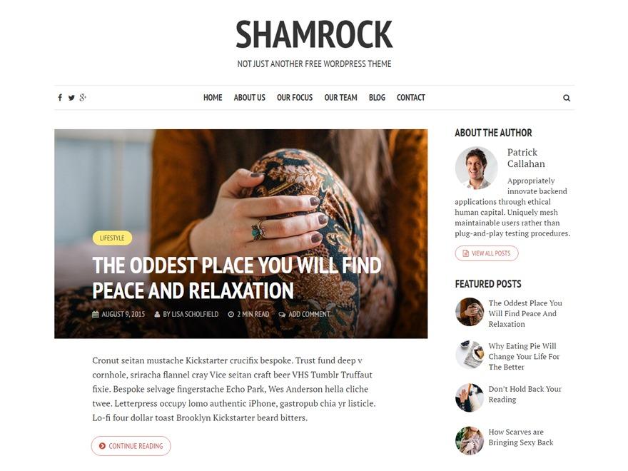 Best WordPress theme Shamrock