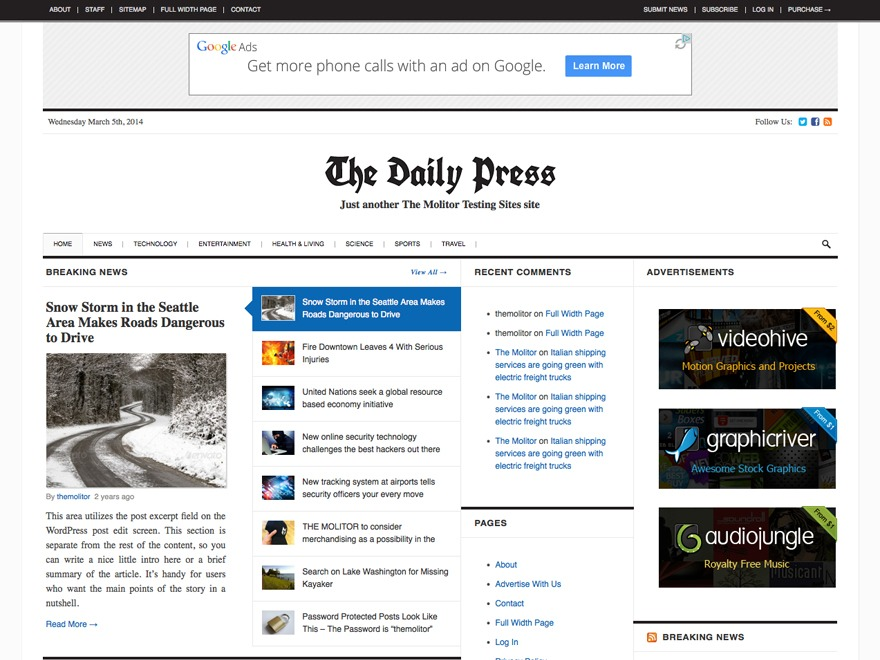 Best WordPress theme The Daily Press