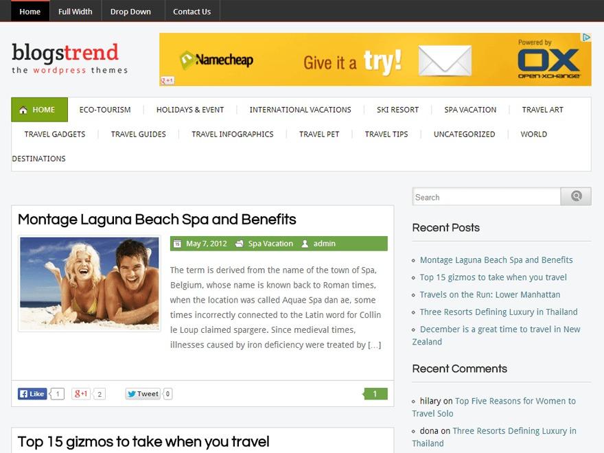 Blogstrend Pro Responsive Theme WordPress blog template