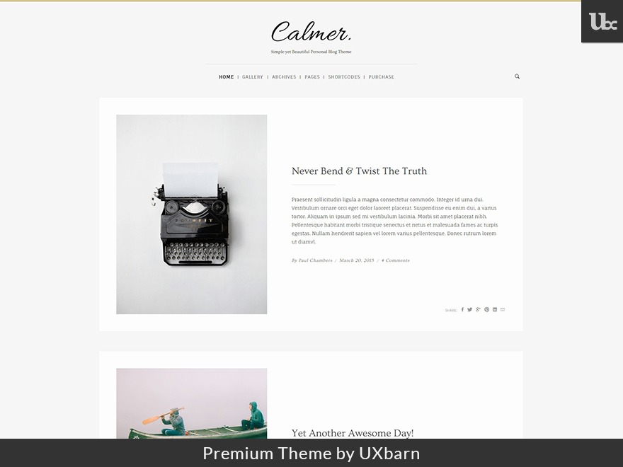 Calmer WordPress blog theme