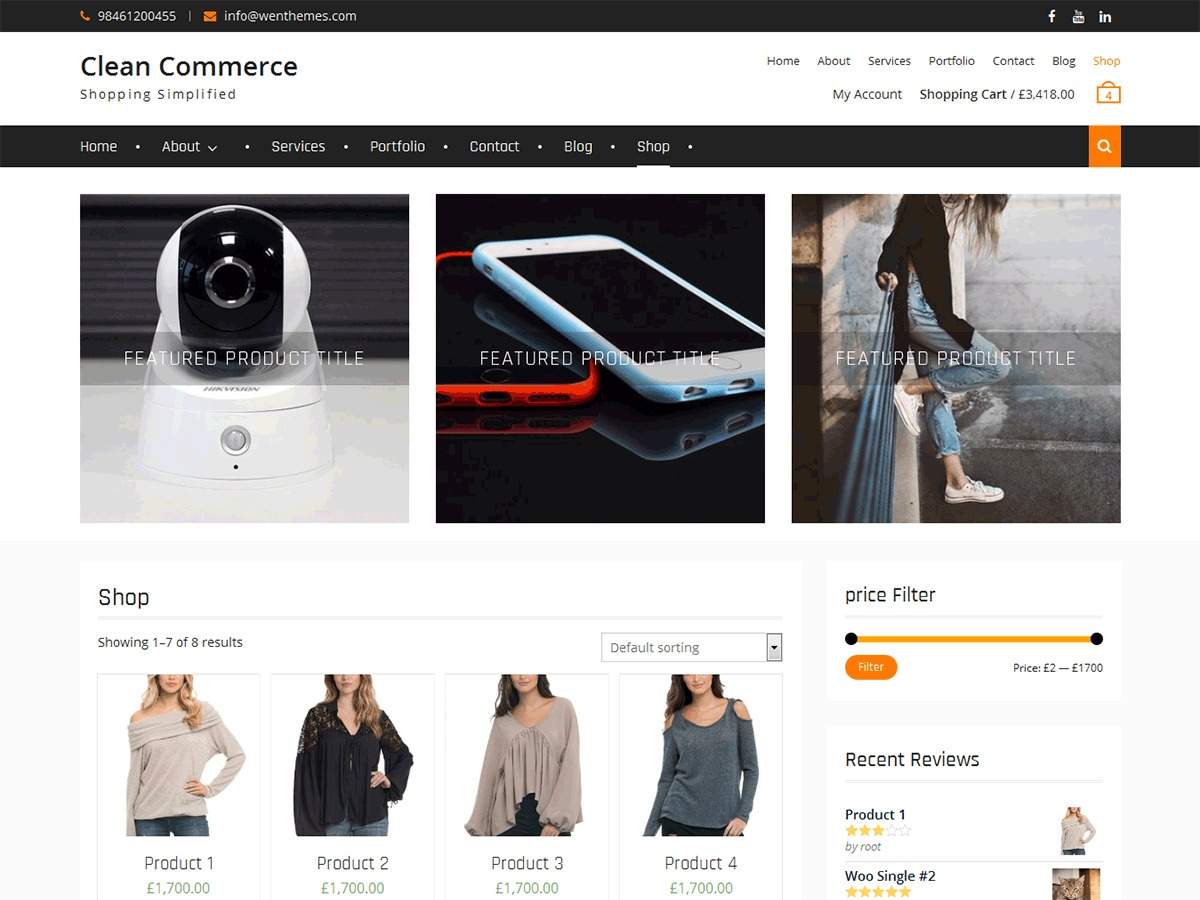 Clean Commerce WordPress ecommerce theme
