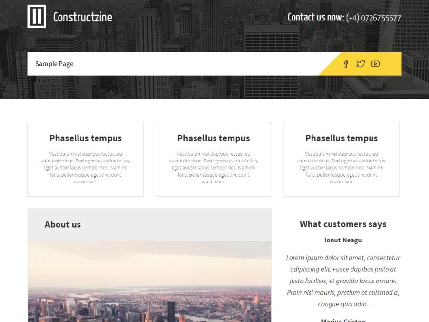 Constructzine Lite company WordPress theme