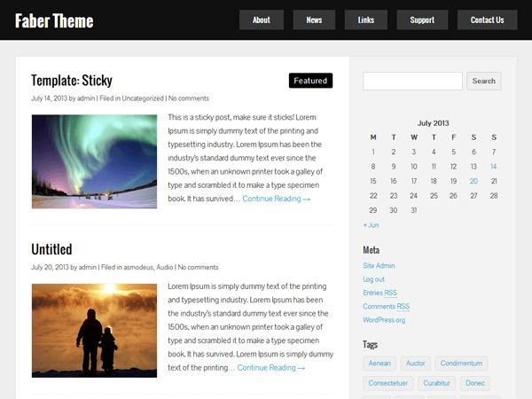 Faber WordPress blog theme