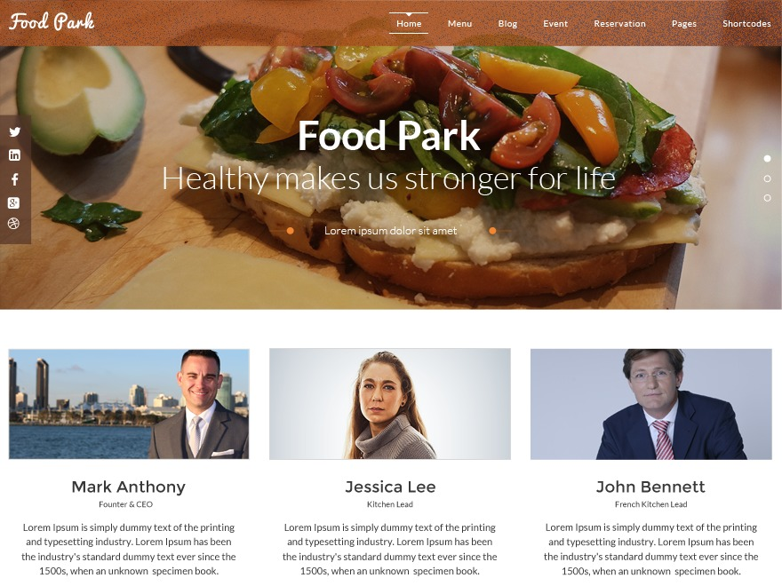 Food Park best restaurant WordPress theme