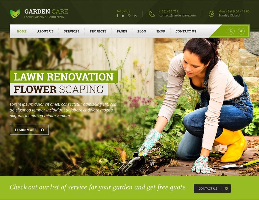 Gardencare garden WordPress theme