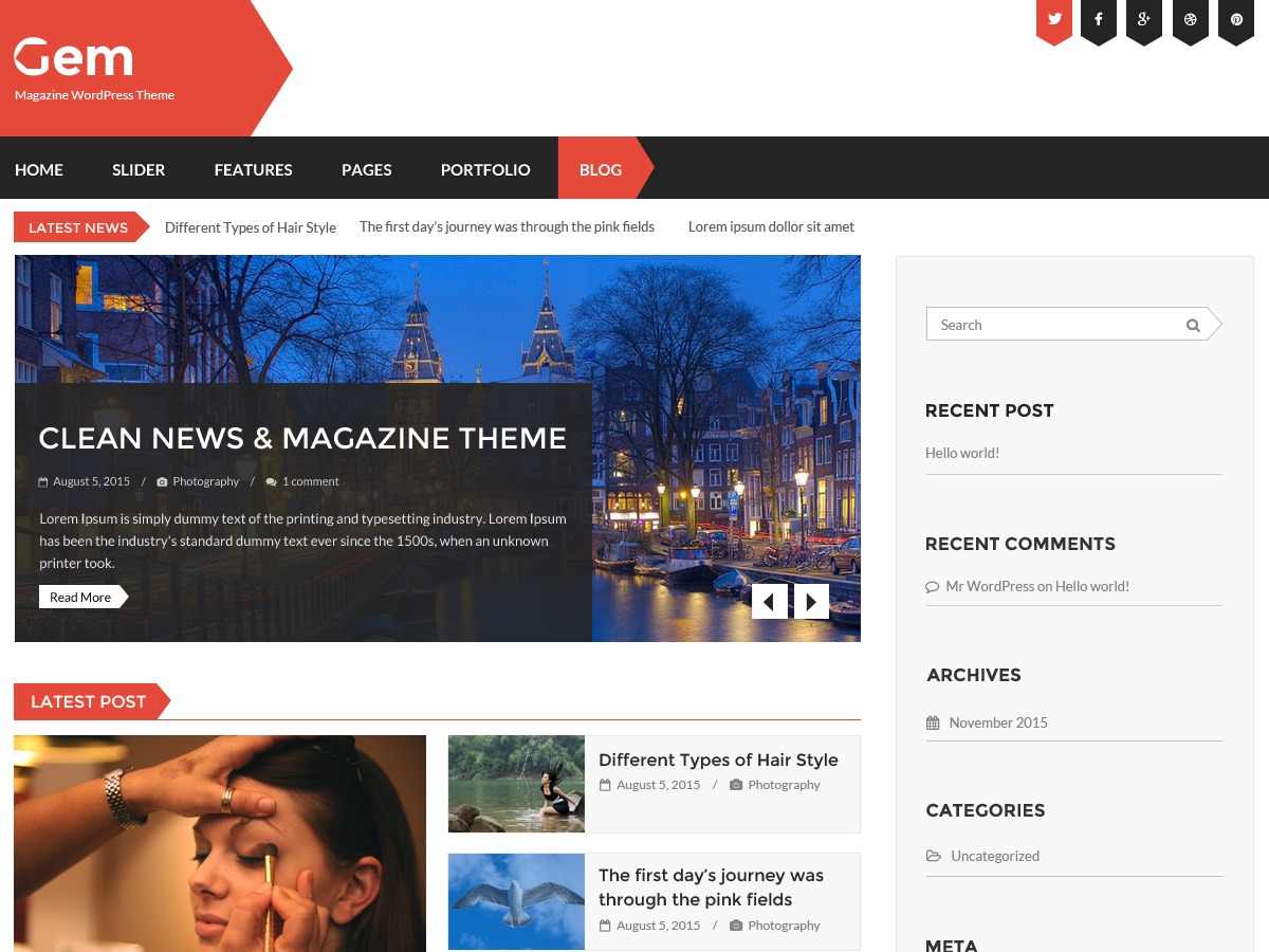 Gem WordPress template free