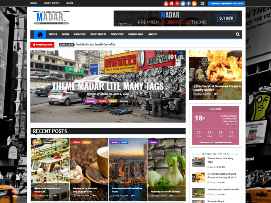 Madar Lite WordPress magazine theme