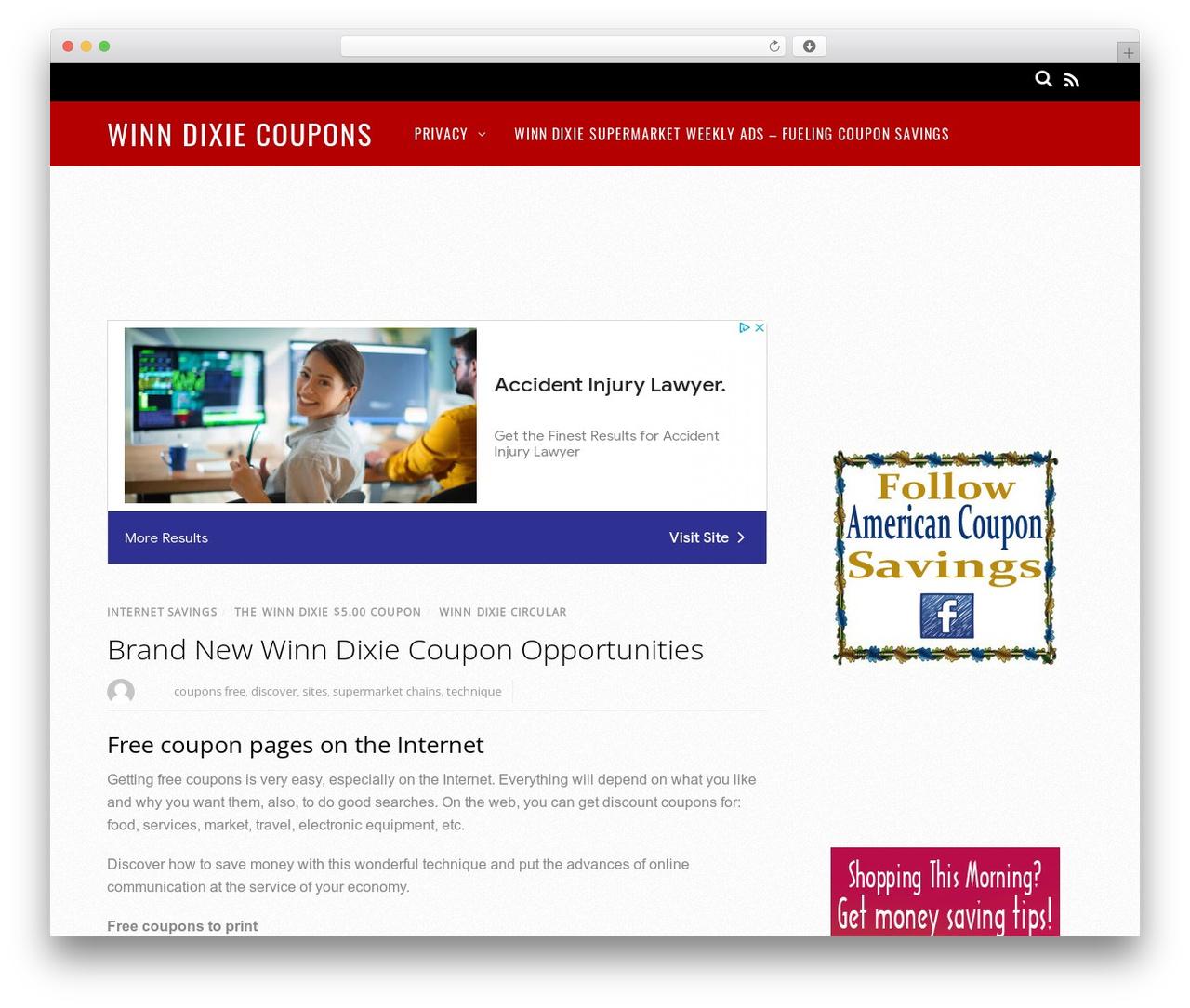 Magazine WordPress website template - winndixiecoupons.net