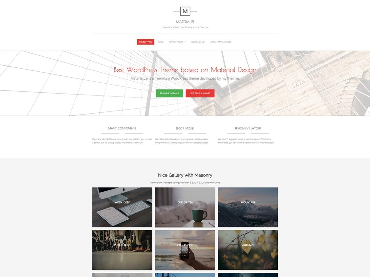 Materialize personal blog WordPress theme