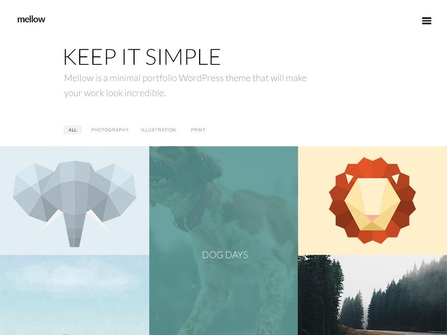 Mellow theme WordPress portfolio