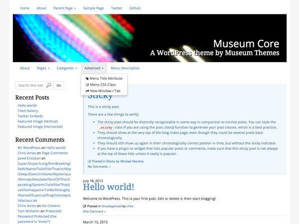 Museum Core template WordPress free