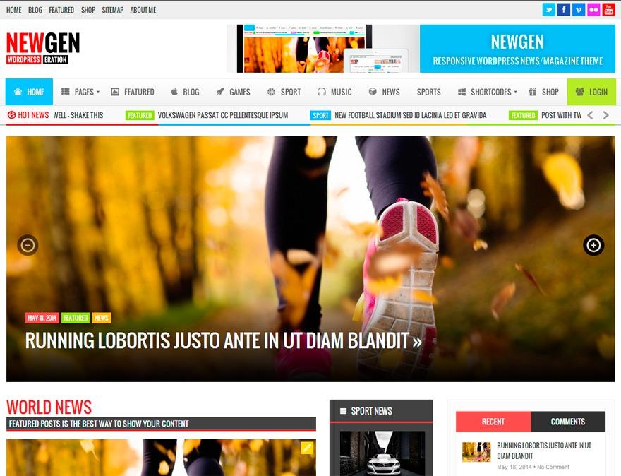NewGen WordPress magazine theme