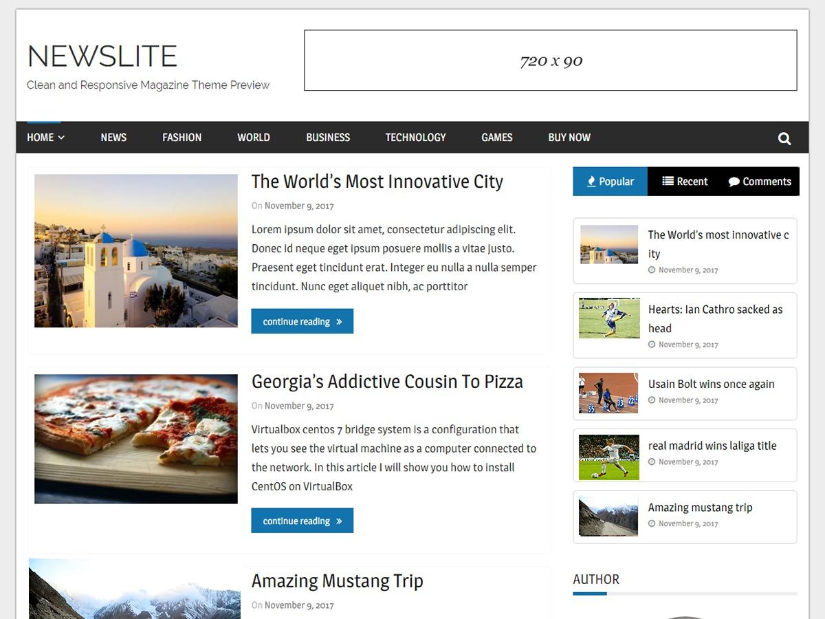 Newslite theme WordPress free