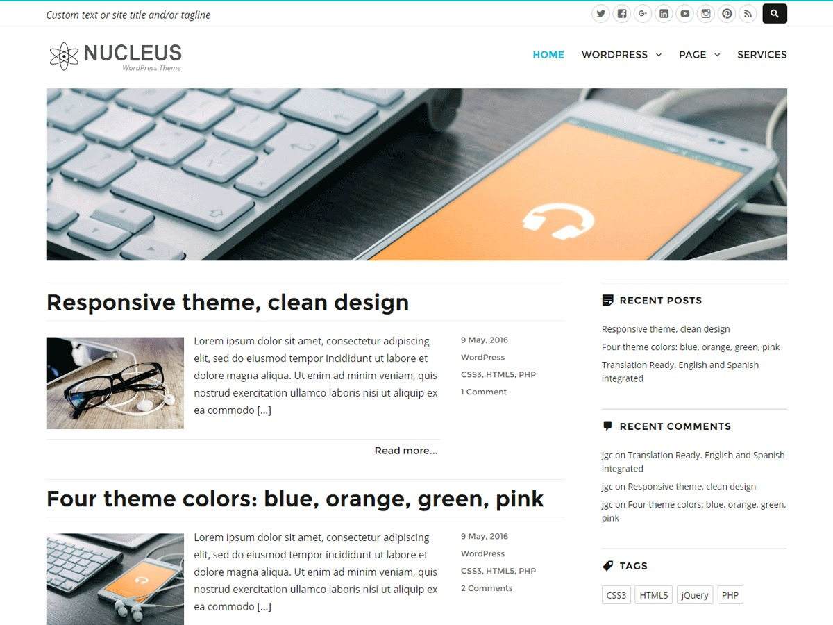 Nucleus free WordPress theme