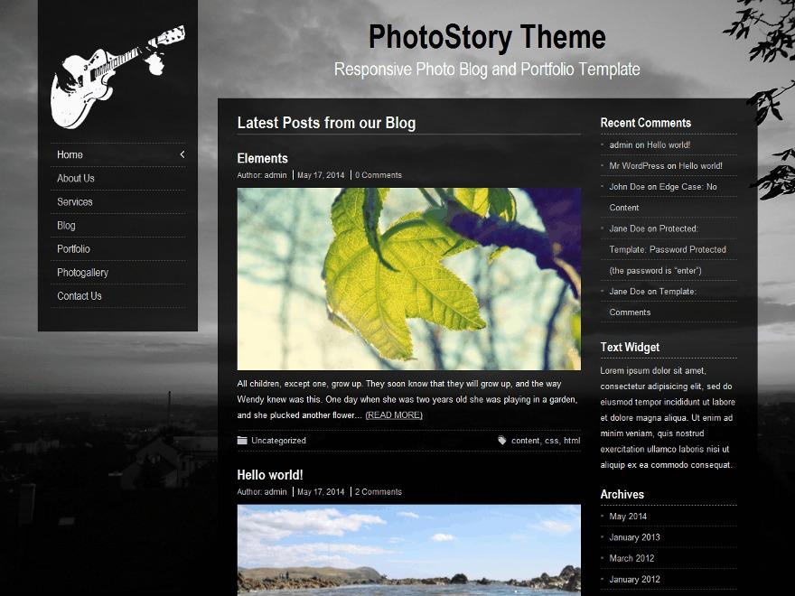 PhotoStory WordPress landing page theme