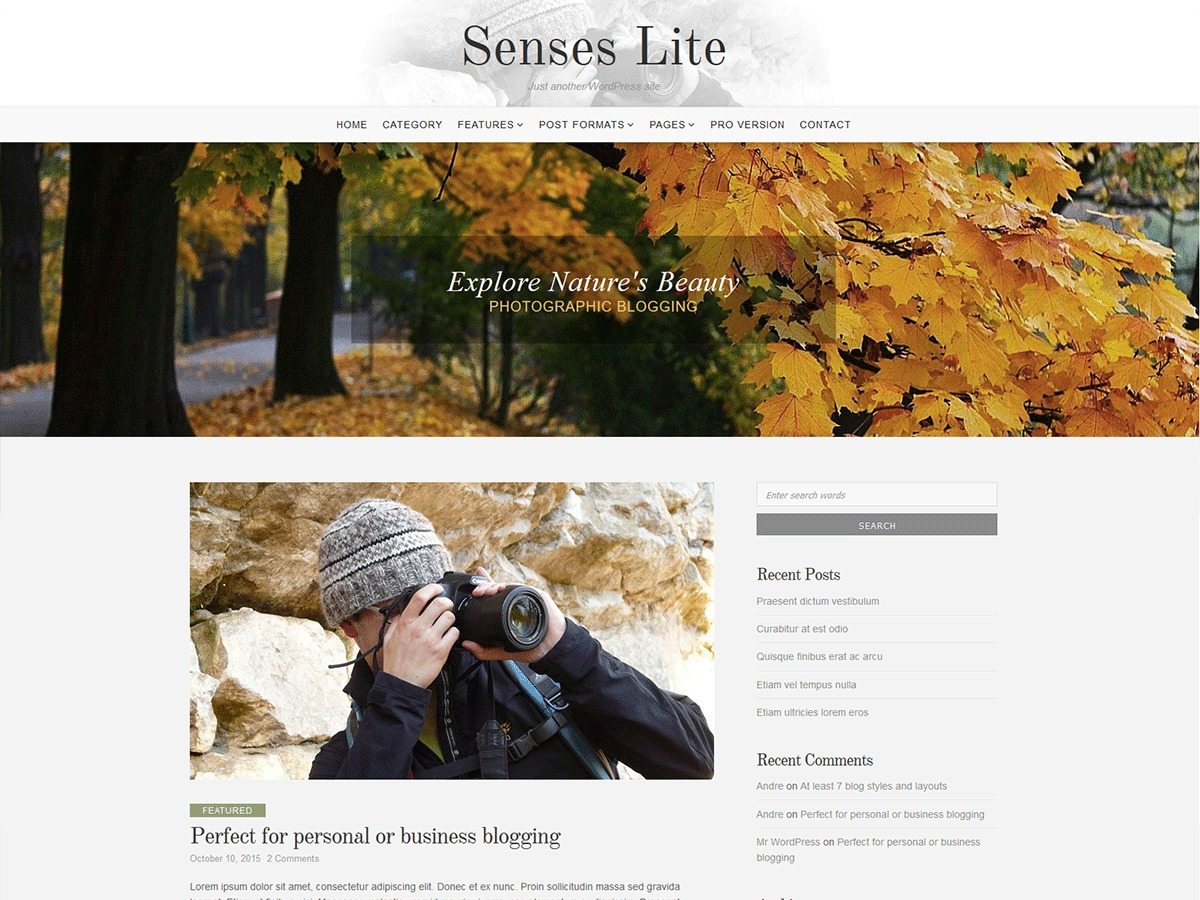 Senses Lite wallpapers WordPress theme
