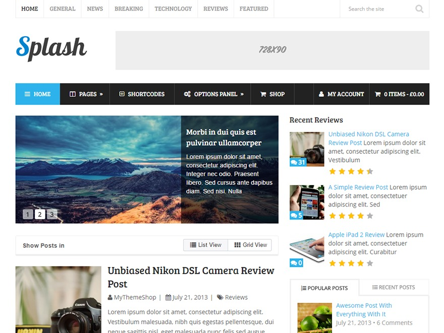 Splash by MyThemeShop WordPress shopping theme