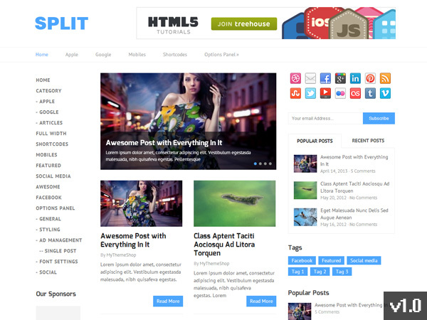 Split WordPress template