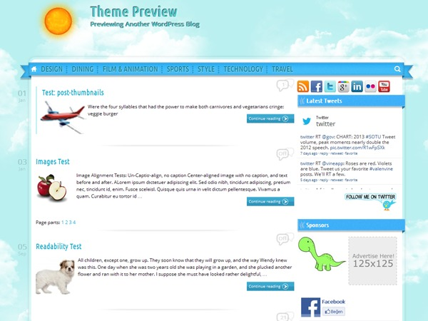 Sunny Blue Sky top WordPress theme
