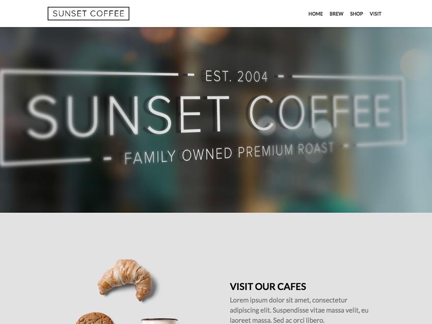 Sunset Coffee WordPress restaurant theme