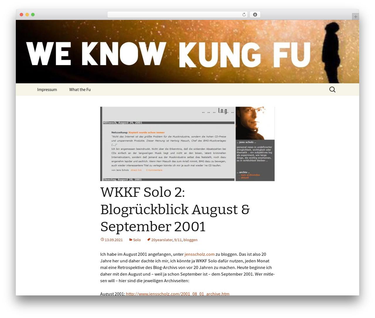 Twenty Thirteen best free WordPress theme - weknowkungfu.net