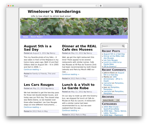Weaver Xtreme WordPress page template - wineloverswanderings.com