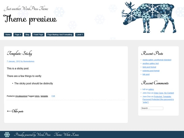 White Xmas free website theme