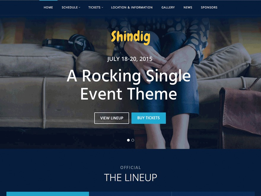 WordPress website template Shindig Progression