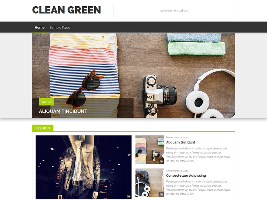 WP Clean Green WordPress blog template