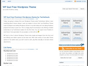 WP Soul WordPress blog template