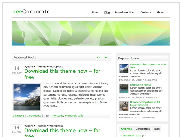 zeeCorporate theme WordPress