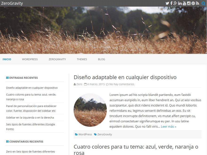 ZeroGravity Child WordPress theme