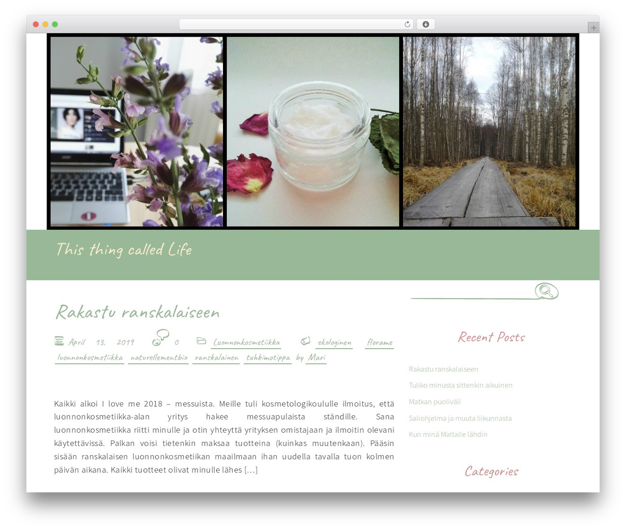 Handdrawn-lite WordPress theme - thisthingcalledlife.fi