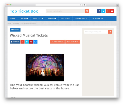 SociallyViral by MyThemeShop WordPress ecommerce template - topticketbox.com/wicked-musical-tickets