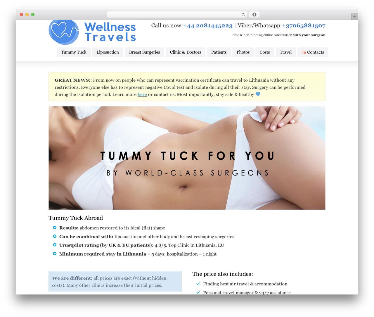 Striking MultiFlex & Ecommerce Responsive WordPress Theme WP template - tummy-tuck-abroad.co.uk