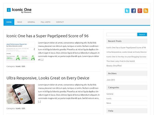 WordPress theme Iconic One