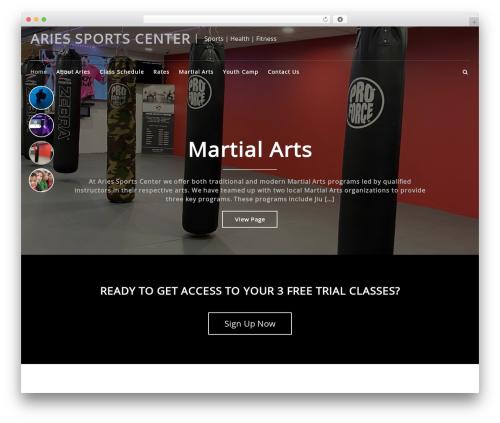 Best WordPress theme FitClub Pro - ariessports.com