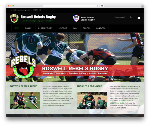 GoalKlub WordPress website template - roswellrebelsrugby.com