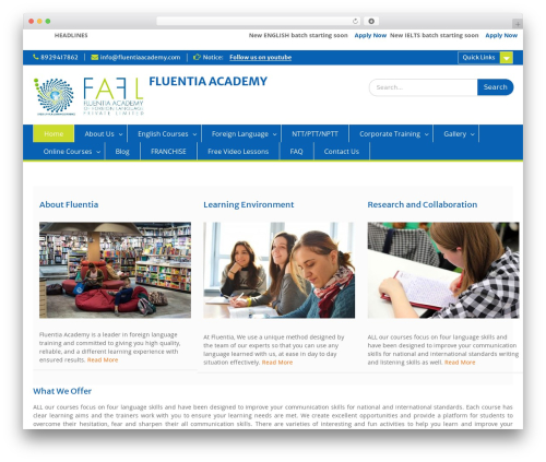Education Hub template WordPress free - fluentiaacademy.com