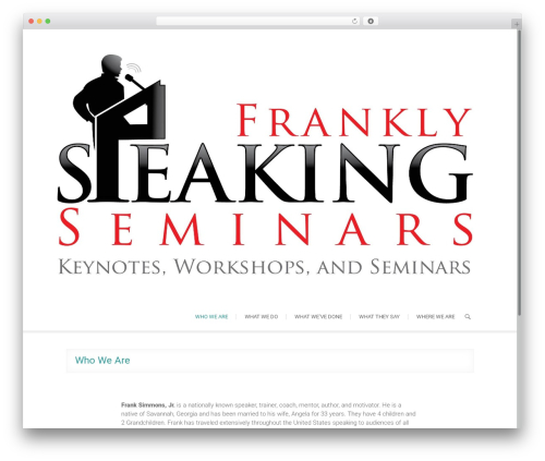 Arise free WordPress theme - franklyspeakingseminars.com